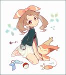1girl :o auko between_legs border bored bow bow_removed brown_eyes brown_hair earrings full_body hair_ribbon hand_between_legs haruka_(pokemon) jacket jacket_on_shoulders jewelry long_hair open_mouth pleated_skirt poke_ball pokemon pokemon_(creature) pokemon_(game) ribbon shoes signature simple_background sitting skirt skitty sneakers solo symbol-shaped_pupils text white_background
