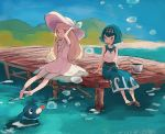 2girls bangs barefoot blonde_hair blue_eyes blue_hair blue_ribbon blue_sailor_collar blunt_bangs blush braid bubble bucket capri_pants collared_dress day dock dress green_eyes hairband hat hat_ribbon highres kebe6p lillie_(pokemon) long_hair mountain multiple_girls open_mouth outdoors pants pier pokemon pokemon_(creature) pokemon_(game) pokemon_sm popplio ribbon sandals scenery seaside see-through shirt short_hair sitting sleeveless sleeveless_dress smile soaking_feet suiren_(pokemon) sun_hat sundress swimsuit swimsuit_under_clothes trial_captain twin_braids water white_dress white_hat
