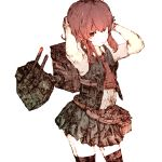 1girl adjusting_hair arashi_(kantai_collection) arms_behind_head arms_up backpack bag black_legwear cannons contrapposto cowboy_shot gurin33 kantai_collection limited_palette red_eyes redhead sidelocks simple_background sketch skirt solo thigh-highs turret vest white_background zettai_ryouiki