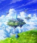 blurry checkered city clouds cloudy_sky crystal depth_of_field fantasy floating_island flower grass highres landscape light_particles makkou_4 no_humans original pyramid river scenery sky tower water waterfall