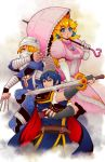 1boy 2girls androgynous armor bandage blonde_hair blue_eyes blue_hair blush braid cape crown dress falchion_(fire_emblem) fire_emblem fire_emblem:_monshou_no_nazo frank_(furanku) gloves long_hair looking_at_viewer mario_(series) marth mask multiple_girls ni_zhenghe niandni open_mouth pink_dress pointy_ears princess_peach red_eyes reverse_trap sheik short_hair super_mario_bros. super_smash_bros. surcoat sword the_legend_of_zelda the_legend_of_zelda:_ocarina_of_time the_legend_of_zelda:_twilight_princess tiara umbrella weapon