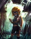 1girl bangs bare_arms bare_shoulders bike_shorts black_shorts blue_eyes blunt_bangs collarbone dappled_sunlight day domino_mask drying_clothes fangs forest grey_shirt highres inkling kashu_(hizake) lake legs_apart light_rays long_hair looking_at_viewer mask monster_girl nature navel open_mouth orange_hair outdoors pointy_ears shade shirt shorts silhouette single_vertical_stripe solo sparkle splatoon standing sunlight tank_top tentacle_hair tree wading water_drop wet wet_clothes wet_hair wringing_clothes