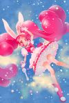 1girl animal_ears boots bow cake_hair_ornament cure_whip earrings extra_ears food food_themed_hair_ornament frilled_skirt frills fruit full_body gloves hair_ornament highres jewelry kirakira_precure_a_la_mode long_hair magical_girl pink_eyes pink_hair pom_pom_(clothes) precure rabbit_ears sad_smile skirt smile solo star strawberry twintails usami_ichika very_long_hair wand white_gloves yukiumisaka