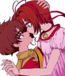 1boy 1girl blush brown_eyes brown_hair card_captor_sakura couple dress green_eyes hetero kinomoto_sakura li_xiaolang short_hair