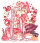 2girls animal_hood bangs black_skirt bunny_hood candy character_name checkerboard_cookie closed_mouth cookie copyright_name doughnut food fork frills from_side gloves grey_eyes grey_hair hand_holding hatsune_miku highres hood interlocked_fingers kneeling long_hair long_sleeves looking_at_viewer lots_of_laugh_(vocaloid) multiple_girls pancake parted_lips pink_gloves pink_skirt sailor_collar school_uniform serafuku short_sleeves sidelocks skirt stuffed_animal stuffed_bunny stuffed_toy sweets symmetry twintails very_long_hair vocaloid yasiromann