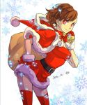 1girl brown_hair female_protagonist_(persona_3) gloves hat highres megami_tensei persona persona_3 persona_3_portable red_eyes santa_costume santa_gloves santa_hat shin_megami_tensei smile snowflake_background tombsakura