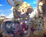 >:d 2girls :d ;d all_fours animal_ears bare_shoulders black_gloves black_hair blonde_hair blue_sky blush breast_press breasts clouds commentary dappled_sunlight elbow_gloves fang gloves grass green_eyes hat hat_feather kaban_(kemono_friends) kemono_friends lying makuran medium_breasts mountain multiple_girls on_ground one_eye_closed open_mouth print_bowtie print_gloves print_legwear print_skirt red_shirt sandstar serval_(kemono_friends) serval_ears serval_print serval_tail shade shirt short_hair skirt sky sleeveless sleeveless_shirt smile straddling striped_tail sunlight tail thigh-highs tree under_tree white_shirt yellow_eyes