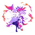 2girls animal_ears blaze_the_cat braixen cat cat_ears cat_tail fire fox fox_ears furry gloves hal high_heels multiple_girls no_humans pokemon purple_fur red_eyes shiny_pokemon shoes signature simple_background smile sonic_the_hedgehog tail white_background yellow_eyes