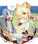 >_< 6+girls :< :d =_= alpaca_ears alpaca_suri_(kemono_friends) animal_ears bangs bathing black_hair blonde_hair blue_eyes blue_hair blunt_bangs blush blush_stickers bow bowtie breast_pocket breasts brown_eyes brown_hair bucket_hat capybara_(kemono_friends) chibi closed_eyes closed_mouth coffee coffee_pot creature elbow_gloves eyebrows_visible_through_hair eyelashes fennec_(kemono_friends) fur-trimmed_sleeves fur_collar fur_trim gloves gradient_hair green_eyes grey_hair grey_hat grin hair_between_eyes hair_over_one_eye hair_tie hat head_wings high-waist_skirt highres holding house jaguar_(kemono_friends) japanese_crested_ibis_(kemono_friends) japari_symbol kaban_(kemono_friends) kemono_friends liquid long_hair long_sleeves looking_at_viewer lucky_beast_(kemono_friends) medium_breasts minigirl multicolored_hair multiple_girls okapi_(kemono_friends) open_mouth outdoors parted_lips peeking_out pocket red_ribbon redhead ribbon round_teeth sand_cat_(kemono_friends) serval_(kemono_friends) serval_ears shirt shoebill_(kemono_friends) short_hair sidelocks silver_hair skirt sleeveless sleeveless_shirt small-clawed_otter_(kemono_friends) smile southern_tamandua_(kemono_friends) streaked_hair sweat taketora_suzume tareme teeth towel towel_on_head triangle_mouth tsurime upper_body white_gloves white_hair white_shirt yellow_skirt