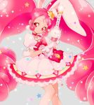 1girl animal_ears cake_hair_ornament choker cowboy_shot cure_whip earrings extra_ears food food_themed_hair_ornament fruit gloves hair_ornament highres jewelry kirakira_precure_a_la_mode long_hair looking_at_viewer magical_girl pink_eyes pink_hair precure puffy_short_sleeves puffy_sleeves rabbit_ears short_sleeves skirt smile solo star strawberry tail thigh-highs twintails usami_ichika wand white_gloves yukiumisaka