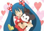 absurdres animal_ears artist_request blue_hair crossover disney dress extra_eyes graphite_(medium) hatsune_miku heart highres hug image_sample long_hair mickey_mouse mouse_ears mouse_tail multicolored multicolored_clothes multicolored_dress open_mouth puffy_short_sleeves puffy_sleeves short_sleeves smile stuffed_animal stuffed_toy tail traditional_media twintails very_long_hair vocaloid wallpaper