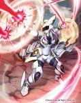 1girl armor armored_boots bare_shoulders blue_skin boots cardfight!!_vanguard clouds company_name defending_goddess faceless faceless_female faceless_male full_body green_eyes helmet long_hair midriff nail_polish navel niccohudou official_art open_mouth pink_hair scales sky solo thigh-highs