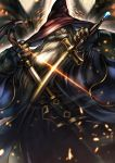 1boy aletheia_(granblue_fantasy) beard blue_eyes cape donarudo facial_hair glowing glowing_eye granblue_fantasy hat highres long_hair male_focus mustache solo sword upper_body weapon white_hair wizard_hat