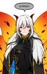black_gloves blue_eyes dh_(14537547) floral_print gloves horns korean long_hair looking_at_viewer personification pokemon speech_bubble translation_request volcarona white_hair wings