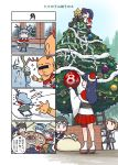 4koma antlers ao_arashi asagumo_(kantai_collection) bald bell box cake capelet christmas christmas_tree comic fleeing food fur_trim fusou_(kantai_collection) hairband hat highres kantai_collection long_hair merry_christmas michishio_(kantai_collection) multiple_girls pale_face sack santa_costume santa_hat sento-kun shigure_(kantai_collection) skirt translation_request yamagumo_(kantai_collection) yamashiro_(kantai_collection)