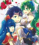 1boy 2girls armor bare_shoulders blue_eyes blue_hair blush closed_eyes couple detached_sleeves dress father_and_daughter fire_emblem fire_emblem:_fuuin_no_tsurugi fire_emblem:_rekka_no_ken fire_emblem_heroes gloves green_eyes green_hair hands_clasped hat hector_(fire_emblem) hetero high_ponytail jewelry lilina long_hair lyndis_(fire_emblem) mother_and_daughter multiple_girls nunuko_(mu661129) open_mouth ponytail short_hair smile strapless strapless_dress wedding_dress