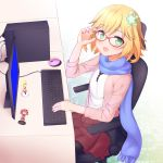 >:o 3girls :3 :o ahoge bat_hair_ornament blonde_hair blue_screen_of_death cardigan casual chair chisaki_tapris_sugarbell commentary_request computer computer_mouse cpu desk faubynet figure flower gabriel_dropout glasses green_eyes hair_flower hair_ornament hair_rings hands_up highres holding holding_glasses instrument keyboard kurumizawa_satanichia_mcdowell leggings long_scarf looking_at_viewer monitor multiple_girls nendoroid open_mouth pantyhose pink_cardigan pleaded_skirt pleated_skirt redhead scarf school_uniform screen short_hair sitting skirt sleeves_past_elbows smile sparkle tenma_gabriel_white white_background