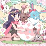 1girl :d alternate_color azumarill blue_eyes blue_hair blush boots bow buneary bunnelby easter easter_egg egg flower full_body hair_ornament hairclip happy_easter head_wreath hikari_(pokemon) long_hair looking_at_viewer open_mouth pink_boots pink_pachisuke pink_skirt pokemon pokemon_(game) ribbon scarf shaymin shiny_pokemon shirt skirt sleeveless sleeveless_shirt smile solo