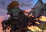 2girls armor armored_dress banner black_skirt blonde_hair blood burnt_clothes capelet clouds command_spell fate/apocrypha fate/grand_order fate_(series) field_of_blades fire flag fujimaru_ritsuka_(female) gauntlets hair_over_eyes headpiece jeanne_alter multiple_girls orange_hair pantyhose ruler_(fate/apocrypha) short_hair skirt standard_bearer sunset sword veerinly weapon