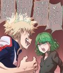 1boy 1girl anger_vein angry arguing bakugou_katsuki blonde_hair boku_no_hero_academia commentary crossover curly_hair green_eyes green_hair highres ogry_ching one-punch_man open_mouth short_hair spiky_hair tatsumaki translated