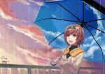 1girl blush brown_hair dated eyebrows_visible_through_hair fueguchi_hinami hairband highres holding holding_umbrella looking_away looking_up open_mouth rain shon short_hair signature smile solo teeth tokyo_ghoul umbrella yellow_eyes