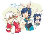 1girl 2boys animal_ears blue_eyes blue_hair bunny_girl bunny_tail bunnysuit christmas english fake_animal_ears father_and_daughter fire_emblem fire_emblem:_kakusei fire_emblem_heroes long_hair lucina lucina_(fire_emblem) male_focus male_my_unit_(fire_emblem:_kakusei) multiple_boys my_unit_(fire_emblem:_kakusei) open_mouth rabbit_ears short_hair tail tears white_hair