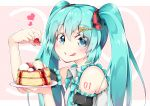 1girl 39 aqua_eyes aqua_hair aqua_nails aqua_necktie bare_shoulders blush commentary_request eyebrows_visible_through_hair eyes_visible_through_hair food frilled_sleeves frills fruit hair_ornament hair_ribbon hairclip hatsune_miku heart holding holding_food holding_plate inumine_aya jam long_hair looking_at_viewer multicolored multicolored_ribbon nail_polish necktie pancake plate ribbon solo strawberry tongue tongue_out twintails upper_body vocaloid