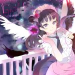 119 1girl angel_wings asymmetrical_wings bangs black_hair black_wings character_name clouds cloudy_sky cowboy_shot dress engrish flower highres index_finger_raised long_hair love_live! love_live!_sunshine!! maid_headdress purple_hair ranguage ribbon side_bun sky smile solo star text tsushima_yoshiko twitter_username violet_eyes white_wings wings