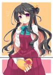 1girl 2koma arm_behind_back black_hair blush bow bowtie comic finger_to_mouth gift gradient_eyes hair_ribbon heart heart-shaped_box kantai_collection long_hair long_sleeves looking_at_viewer multicolored multicolored_eyes multicolored_hair naganami_(kantai_collection) nagasioo pink_hair ribbon school_uniform smile solo two-tone_hair valentine violet_eyes
