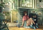 1girl :/ bangs bare_legs basket birdhouse blue_eyes blue_legwear blue_shoes blue_skirt blush bookshelf bored bow brown_hair capelet dust flower frilled_legwear frilled_skirt frills high_heels indoors k_ryo knees_up light_rays long_hair looking_away on_floor original plant potted_plant shelf shoes sitting skirt socks solo stool sunbeam sunlight watering_can window winged_shoes wings wooden_floor