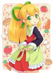 1girl :o apron bangs blonde_hair blush bread carrot cowboy_shot dress egg food frilled_apron frilled_dress frills from_behind green_apron green_eyes green_ribbon hair_ribbon long_hair long_sleeves looking_at_viewer mizuno_mumomo multicolored multicolored_background open_mouth outline polka_dot polka_dot_apron ponytail red_dress ribbon rockman rockman_(classic) roll sidelocks solo standing tomato tying tying_apron white_outline