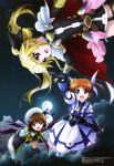 3girls :d absurdres belt black_gloves black_legwear blonde_hair brown_hair buckle cape clouds dress elbow_gloves fate_testarossa fingerless_gloves flying full_moon gauntlets gloves hair_ornament hair_ribbon hand_holding hat highres juliet_sleeves kawamoto_miyoko long_hair long_sleeves lyrical_nanoha magazine_scan magical_girl mahou_shoujo_lyrical_nanoha mahou_shoujo_lyrical_nanoha_the_movie_3rd:_reflection megami moon multiple_girls night official_art open_mouth puffy_sleeves ribbon scan short_hair short_twintails skirt smile star_(sky) takamachi_nanoha thigh-highs twintails x_hair_ornament yagami_hayate