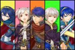2girls 3boys blue_eyes blue_hair cape closed_mouth column_lineup dual_persona female_my_unit_(fire_emblem:_kakusei) fire_emblem fire_emblem:_akatsuki_no_megami fire_emblem:_kakusei fire_emblem:_monshou_no_nazo fire_emblem:_souen_no_kiseki grin hairband headband holding holding_sword holding_weapon hood ike ike_(fire_emblem) komugikomix long_hair looking_at_viewer lucina lucina_(fire_emblem) male_focus male_my_unit_(fire_emblem:_kakusei) marth marth_(fire_emblem) matching_hair/eyes multiple_boys multiple_girls my_unit_(fire_emblem:_kakusei) nintendo open_mouth parted_lips round_teeth serious short_hair smile super_smash_bros. sword teeth tiara twintails weapon white_hair