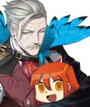 1boy 1girl :d ahoge arm_around_back bangs blue_eyes chibi closed_mouth facial_hair fate/grand_order fate_(series) feng_ze fujimaru_ritsuka_(female) hair_between_eyes hair_ornament james_moriarty_(fate/grand_order) looking_at_viewer looking_back mustache one_eye_closed open_mouth orange_eyes orange_hair riyo_(lyomsnpmp)_(style) side_ponytail sidelocks silver_hair simple_background smile sweat vest white_background