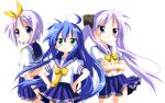 3girls :3 ahoge black_ribbon blue_eyes blue_hair blue_sailor_collar blue_skirt cowboy_shot crossed_arms green_eyes highres hiiragi_kagami hiiragi_tsukasa izumi_konata long_hair looking_at_viewer lucky_star multiple_girls neckerchief pleated_skirt purple_hair ribbon rindou_(awoshakushi) school_uniform serafuku short_hair simple_background skirt white_background yellow_neckerchief yellow_ribbon