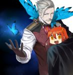 1boy 1girl :d ahoge arm_around_back bangs black_gloves blue_eyes butterfly chibi closed_mouth facial_hair fate/grand_order fate_(series) feng_ze fujimaru_ritsuka_(female) gloves hair_between_eyes hair_ornament hand_up highres james_moriarty_(fate/grand_order) looking_at_viewer looking_back mustache one_eye_closed open_mouth orange_eyes orange_hair riyo_(lyomsnpmp)_(style) side_ponytail sidelocks silver_hair smile sweat vest