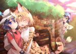 4girls animal_ears backpack bag black_gloves black_hair blonde_hair blush bow bowtie brown_eyes bucket_hat closed_eyes commentary_request common_raccoon_(kemono_friends) cross-laced_clothes elbow_gloves fennec_(kemono_friends) fox_ears fur_collar gloves hat hat_feather higashimura high-waist_skirt japari_symbol kaban_(kemono_friends) kemono_friends lucky_beast_(kemono_friends) multicolored_hair multiple_girls one_eye_closed open_mouth raccoon_ears raccoon_tail red_shirt serval_(kemono_friends) serval_ears serval_print serval_tail shirt short_hair short_sleeves skirt sleeveless sleeveless_shirt striped_tail tail