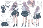 1girl belt black_choker black_ribbon character_sheet choker english from_behind highres kanekiru layered_skirt long_hair multiple_views navel purple_hair ribbon ribbon_choker shawl shirt shoes short_over_long_sleeves simple_background sneakers text white_background white_shirt