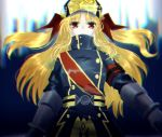 1girl artist_request blonde_hair bow cosplay elbow_gloves fate_testarossa gloves gunpuku_no_himegimi gunpuku_no_himegimi_(cosplay) hair_bow hat highres long_hair lyrical_nanoha mahou_shoujo_lyrical_nanoha military military_uniform re:creators red_bow red_eyes shako_cap solo twintails uniform upper_body