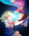 2girls :d bangs blue_eyes blunt_bangs brown_hair cape child diana_cavendish dress green_hair hat kagari_atsuko little_witch_academia long_hair looking_at_another miyazaki_shiori multiple_girls open_mouth red_eyes sky smile star_(sky) starry_sky upside-down witch_hat