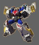1boy absurdres artist_request autobot character_request clenched_hands full_body glowing grey_background highres insignia looking_at_viewer machine machinery mecha mechanical_wings no_humans personification pose red_eyes robot solo standing transformers weapon wings