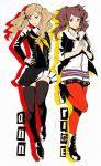2girls ascot atlus blonde_hair boots brown_hair character_name cosplay costume_switch hair_ornament hairclip hand_on_hip hands_together hood hoodie kujikawa_rise kujikawa_rise_(cosplay) looking_at_viewer megami_tensei multiple_girls pantyhose persona persona_4 persona_5 plaid plaid_skirt school_uniform shinkusora skirt smile takamaki_anne takamaki_anne_(cosplay) thigh-highs trait_connection twintails zettai_ryouiki