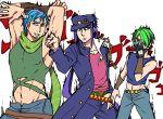 3boys blue_hair chains cosplay facial_hair fingerless_gloves gakuran gloves green_hair hair_over_one_eye hat horns james_p._sullivan jojo_no_kimyou_na_bouken jonathan_joestar jonathan_joestar_(cosplay) joseph_joestar_(young) joseph_joestar_(young)_(cosplay) kuujou_joutarou kuujou_joutarou_(cosplay) michael_wazowski midriff monsters_inc. multiple_boys personification purple_hair randall_boggs scarf school_uniform shirt short_hair sleeveless sleeveless_shirt smile