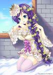 blush braids green_eyes long_hair love_live!_school_idol_project toujou_nozomi violet_hair