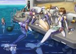 3girls bare_legs blonde_hair breasts brown_hair cleavage commentary_request eyebrows_visible_through_hair goggles green_eyes hair_between_eyes highres mecha_musume medium_breasts multiple_girls ocean oxygen_tank plugsuit purple_hair red_eyes seiza ship sitting watercraft yellow_eyes yin_gren