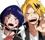 1boy 1girl bangs blonde_hair blue_eyes blue_hair blunt_bangs blush boku_no_hero_academia choker earplugs facial_mark fingerless_gloves gloves half-closed_eyes hands headphones jirou_kyouka kaminari_denki looking_at_viewer multicolored_hair open_mouth plug simple_background streaked_hair teeth upper_body white_background yellow_eyes