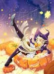 androgynous biru black_boots black_legwear boots bow braid candy dated food frills gloves halloween hat jack-o'-lantern knee_boots leg_up long_hair open_mouth orange_bow original pumpkin purple_hat red_eyes sitting star thigh-highs very_long_hair white_gloves witch_hat wrapped_candy