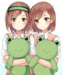 1girl :> bangs blush brown_eyes brown_hair closed_mouth collared_shirt commentary_request dual_persona electricity eyebrows_visible_through_hair head_mounted_display head_tilt highres holding looking_at_viewer misaka_imouto misaka_mikoto school_uniform shirt short_hair siblings sisters stuffed_animal stuffed_frog stuffed_toy sweater_vest swept_bangs tareme to_aru_kagaku_no_railgun to_aru_majutsu_no_index upper_body white_shirt wing_collar yukinoshita_(shaonjishi)