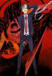1boy adachi_tooru arm_up belt black_hair black_jacket black_pants full_body gun holding holding_gun holding_sword holding_weapon izanagi jacket necktie open_clothes open_jacket pants persona persona_4 red_necktie shirt shiwasuda short_hair spoilers standing sword uniform very_short_hair weapon white_shirt