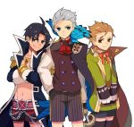 3boys adapted_costume black_hair book cape caster_of_red chains child cocorosso crossed_arms double-breasted edward_teach_(fate/grand_order) fate/apocrypha fate/grand_order fate_(series) gold_necklace hair_slicked_back hand_in_pocket james_moriarty_(fate/grand_order) jewelry male_focus multiple_boys necklace orange_hair shorts silver_hair simple_background white_background younger